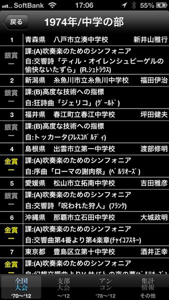 全日本吹奏楽コンクールデータベース for iPhone